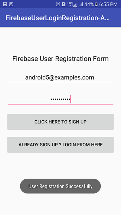 Android Firebase User Login Authentication with Email